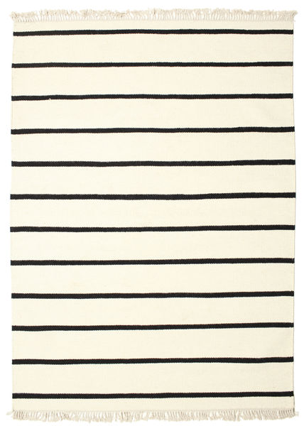 ドリ Stripe - 白/黒 絨毯 160X230 モダン 手織り ベージュ/ホワイト/クリーム色 (ウール, インド)