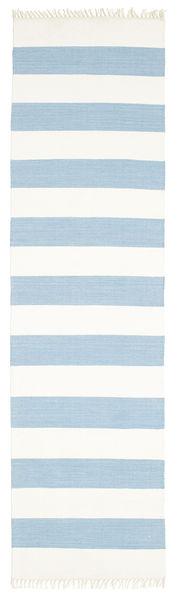 コットン Stripe - 薄い 青 絨毯 80X300 モダン 手織り 廊下 カーペット ベージュ/水色 (綿, インド)