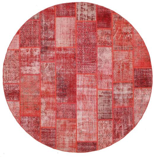 パッチワーク 絨毯 Ø 300 モダン 手織り ラウンド 錆色/深紅色の/ライトピンク 大きな (ウール, トルコ)