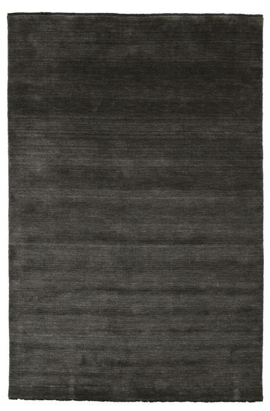 ハンドルーム Fringes - 黒/グレー 絨毯 200X300 モダン 黒 (ウール, インド)
