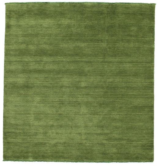 ハンドルーム Fringes - グリーン 絨毯 200X200 モダン 正方形 オリーブ色 (ウール, インド)