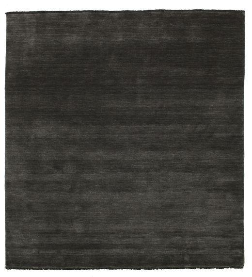 ハンドルーム Fringes - 黒/グレー 絨毯 200X200 モダン 正方形 黒/濃いグレー (ウール, インド)