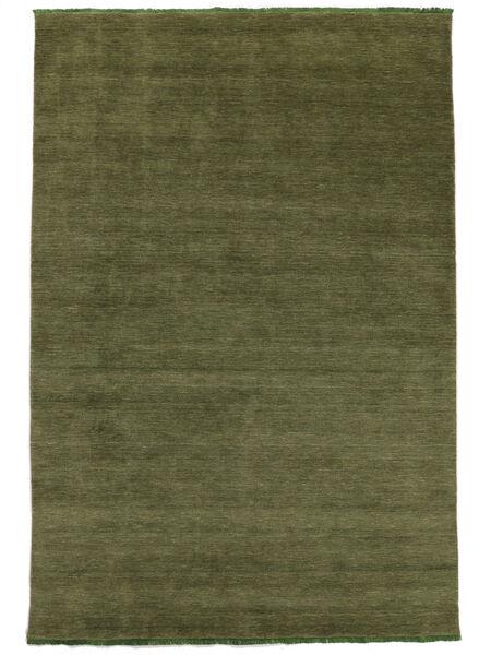 ハンドルーム Fringes - グリーン 絨毯 160X230 モダン オリーブ色 (ウール, インド)