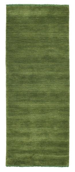 ハンドルーム Fringes - グリーン 絨毯 80X200 モダン 廊下 カーペット オリーブ色/深緑色の (ウール, インド)