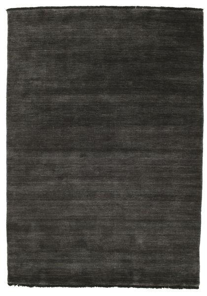 ハンドルーム Fringes - 黒/グレー 絨毯 140X200 モダン 黒 (ウール, インド)