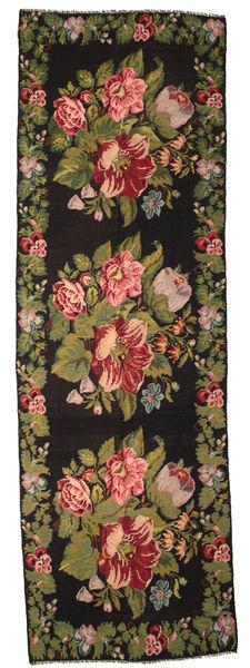 薔薇 キリム Moldavia 絨毯 170X530 オリエンタル 手織り 廊下 カーペット 濃いグレー/濃い茶色 (ウール, モルドバ)