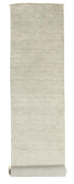 ハンドルーム Fringes - グレー/薄緑色 絨毯 80X400 モダン 廊下 カーペット 薄い灰色/暗めのベージュ色の (ウール, インド)
