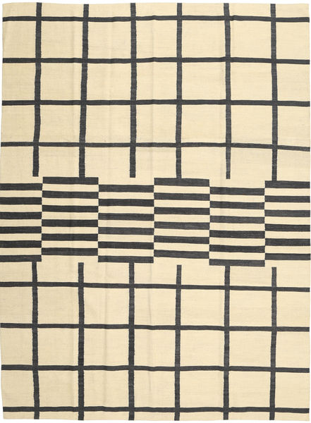 キリム モダン 絨毯 210X285 モダン 手織り ベージュ/黒 (ウール, アフガニスタン)