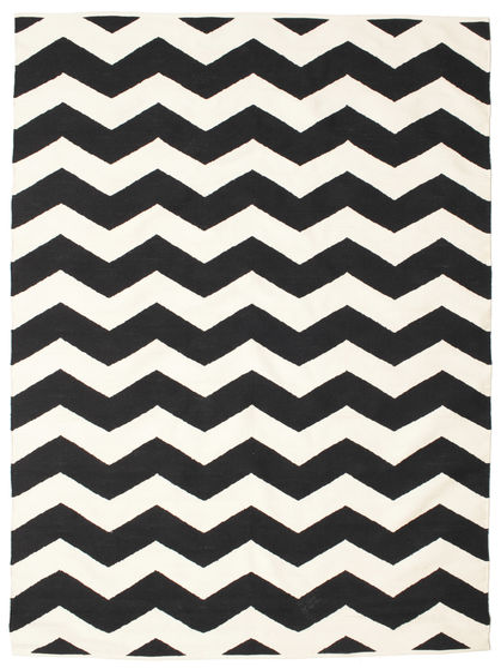 Echo 絨毯 160X230 モダン 手織り 黒/ベージュ (綿, インド)