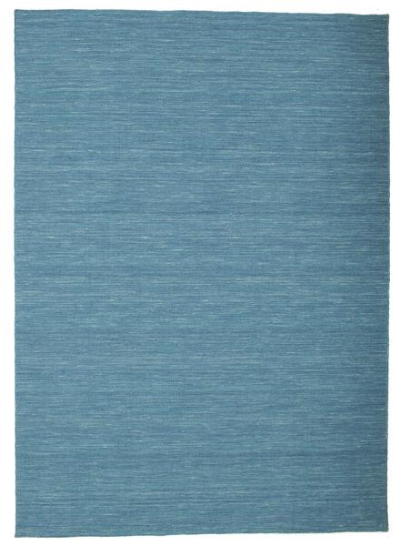 キリム ルーム - 青 絨毯 160X230 モダン 手織り ターコイズブルー/青 (ウール, インド)