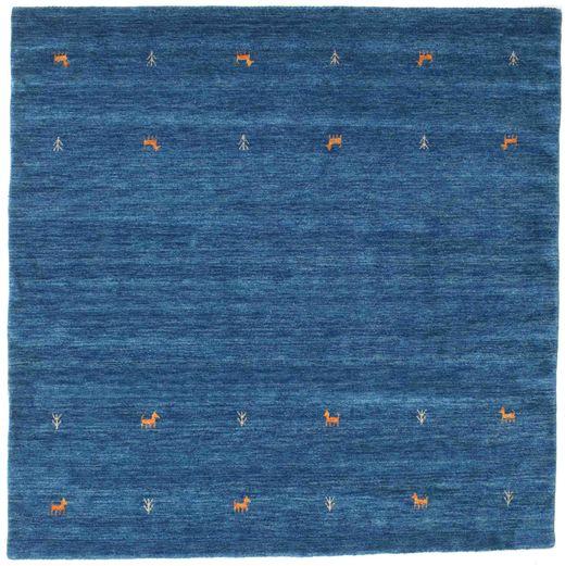 ギャッベ ルーム Two Lines - 青 絨毯 200X200 モダン 正方形 紺色の/青 (ウール, インド)