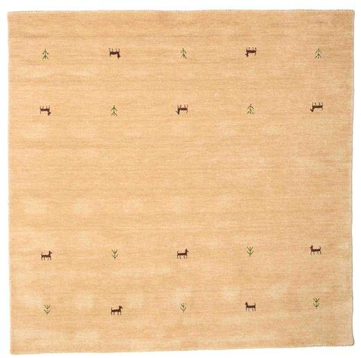 ギャッベ ルーム Two Lines - ベージュ 絨毯 200X200 モダン 正方形 暗めのベージュ色の/薄茶色 (ウール, インド)