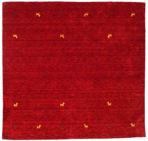 ギャッベ ルーム Two Lines - 赤 絨毯 200X200 モダン 正方形 赤/深紅色の (ウール, インド)