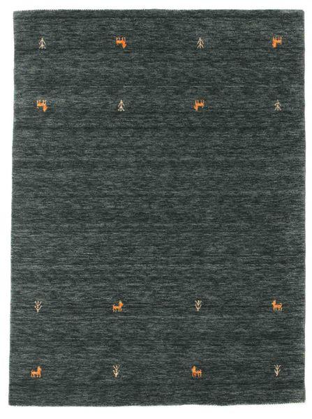 ギャッベ ルーム Two Lines - 濃いグレー/グリーン 絨毯 140X200 モダン 黒/濃いグレー/深緑色の (ウール, インド)
