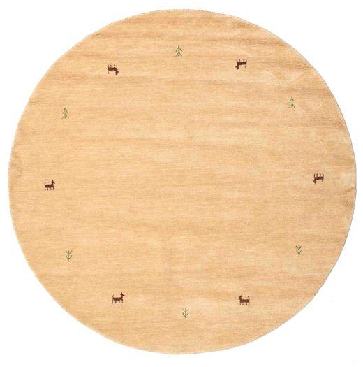 ギャッベ ルーム Two Lines - ベージュ 絨毯 Ø 200 モダン ラウンド 暗めのベージュ色の/薄茶色 (ウール, インド)