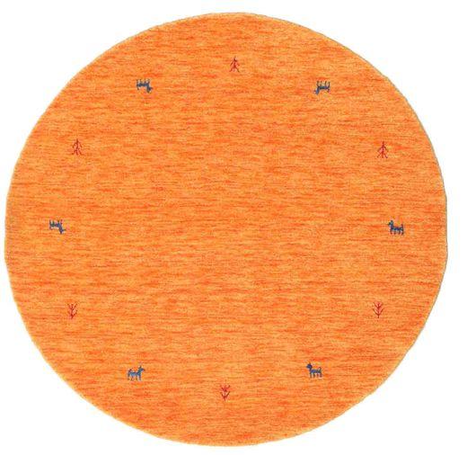 ギャッベ ルーム Two Lines - オレンジ 絨毯 Ø 150 モダン ラウンド オレンジ (ウール, インド)