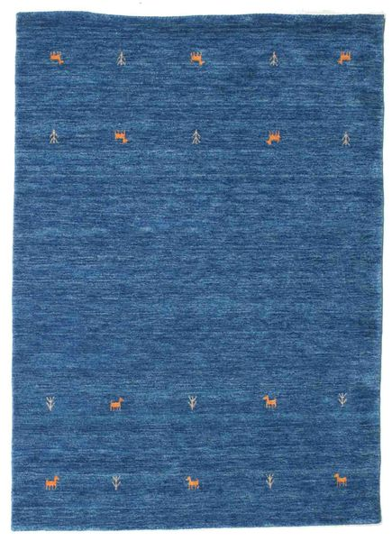 ギャッベ ルーム Two Lines - 青 絨毯 140X200 モダン 紺色の/青 (ウール, インド)