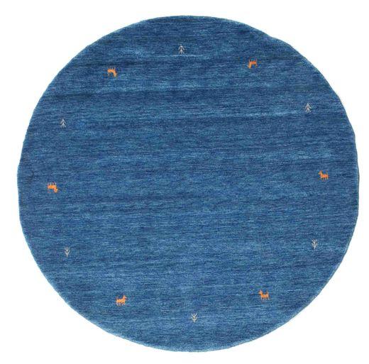 ギャッベ ルーム Two Lines - 青 絨毯 Ø 200 モダン ラウンド 紺色の/青 (ウール, インド)