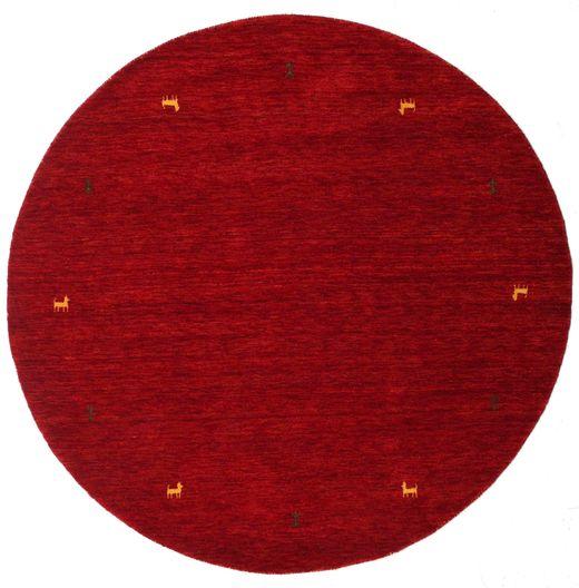 ギャッベ ルーム Two Lines - 赤 絨毯 Ø 200 モダン ラウンド 深紅色の/赤 (ウール, インド)