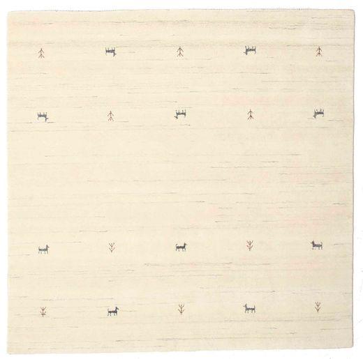 ギャッベ ルーム Two Lines - オフホワイト 絨毯 200X200 モダン 正方形 ベージュ/ホワイト/クリーム色 (ウール, インド)