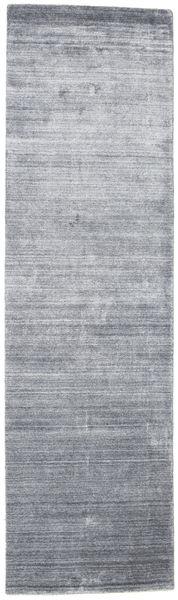 Bamboo シルク ルーム - Denim 青 絨毯 80X300 モダン 廊下 カーペット 薄い灰色/水色 ( インド)