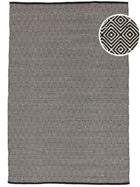 Diamond - 黒 絨毯 140X200 モダン 手織り 薄い灰色/濃いグレー (綿, インド)