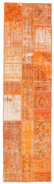 パッチワーク 絨毯 81X305 モダン 手織り 廊下 カーペット オレンジ/暗めのベージュ色の (ウール, トルコ)