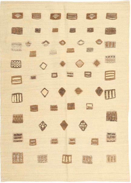キリム モダン 絨毯 140X201 モダン 手織り ベージュ/暗めのベージュ色の (ウール, ペルシャ/イラン)