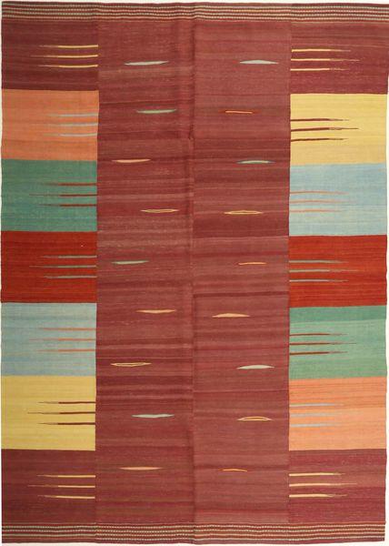 キリム モダン 絨毯 225X311 モダン 手織り 深紅色の/暗めのベージュ色の (ウール, ペルシャ/イラン)