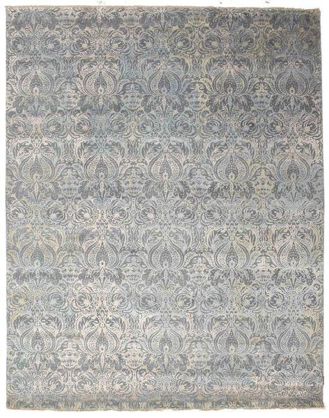 Damask 絨毯 244X309 モダン 手織り 薄い灰色/濃いグレー ( インド)