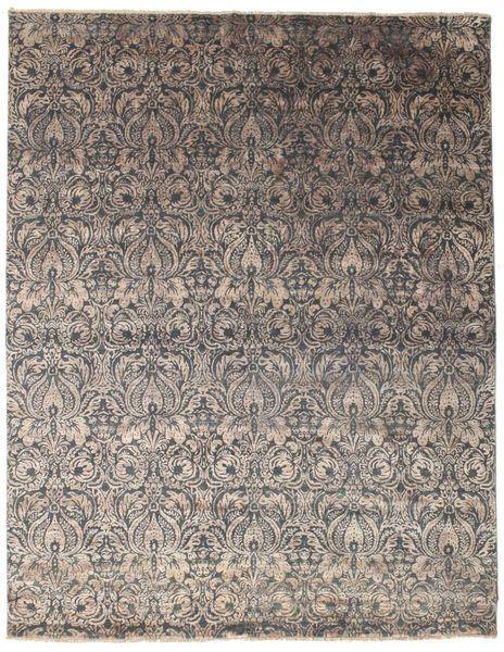 Damask 絨毯 238X305 モダン 手織り 薄い灰色/濃い茶色 ( インド)