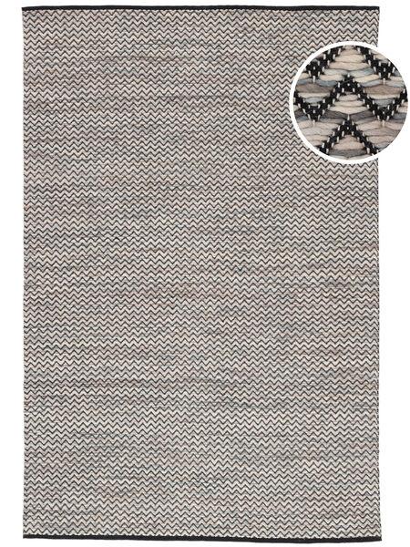 Chevron Waves - ダーク 絨毯 140X200 モダン 手織り 薄い灰色/濃いグレー ( インド)
