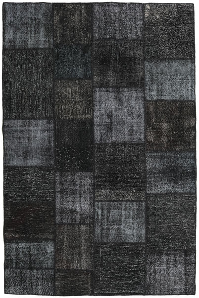 パッチワーク 絨毯 197X298 モダン 手織り 黒/濃いグレー (ウール, トルコ)