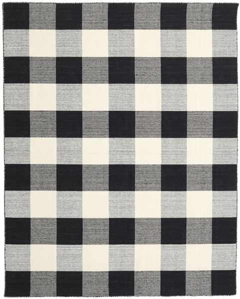 Check Kilim - 黒/白 絨毯 240X300 モダン 手織り 薄い灰色/黒 (ウール, インド)