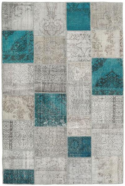 パッチワーク 絨毯 200X301 モダン 手織り 薄い灰色/ターコイズブルー (ウール, トルコ)