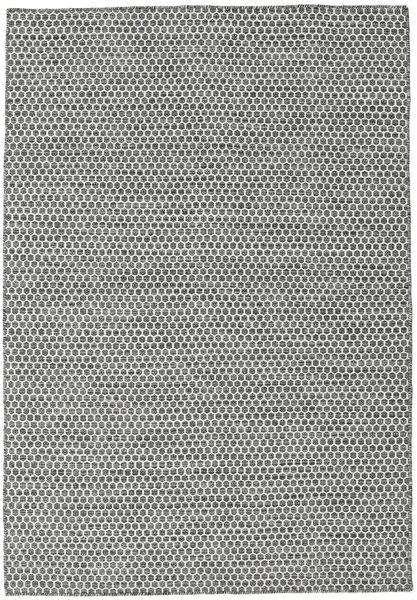 キリム Honey Comb - 黒/グレー 絨毯 160X230 モダン 手織り 薄い灰色/濃いグレー (ウール, インド)