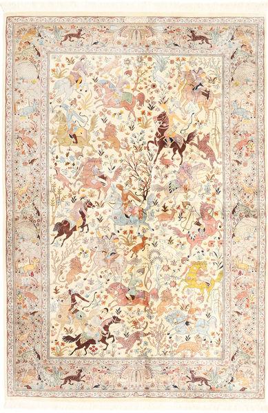クム シルク 絨毯 140X211 オリエンタル 手織り ベージュ/ライトピンク (絹, ペルシャ/イラン)