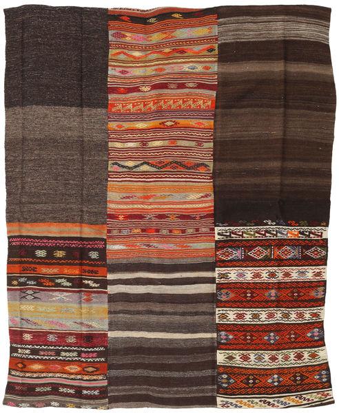キリム パッチワーク 絨毯 195X237 モダン 手織り 濃い茶色/深紅色の (ウール, トルコ)