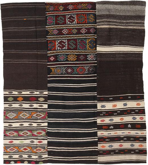 キリム パッチワーク 絨毯 198X230 モダン 手織り 濃い茶色/薄い灰色 (ウール, トルコ)