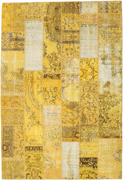パッチワーク 絨毯 202X298 モダン 手織り 黄色/暗めのベージュ色の (ウール, トルコ)