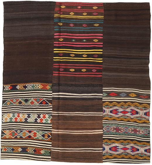 キリム パッチワーク 絨毯 208X226 モダン 手織り 正方形 濃い茶色/ベージュ (ウール, トルコ)