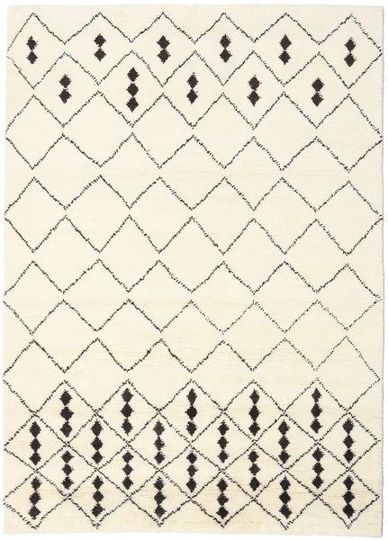 Berber インド - Off-白/黒 絨毯 210X290 モダン 手織り ベージュ/ホワイト/クリーム色 (ウール, インド)