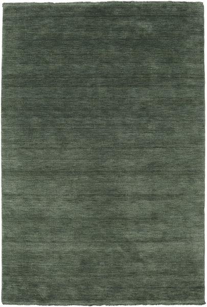 ハンドルーム Fringes - フォレストグリーン 絨毯 160X230 モダン 深緑色の/深緑色の (ウール, インド)