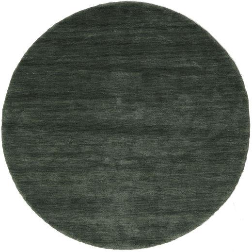 ハンドルーム - フォレストグリーン 絨毯 Ø 150 モダン ラウンド 深緑色の/深緑色の (ウール, インド)