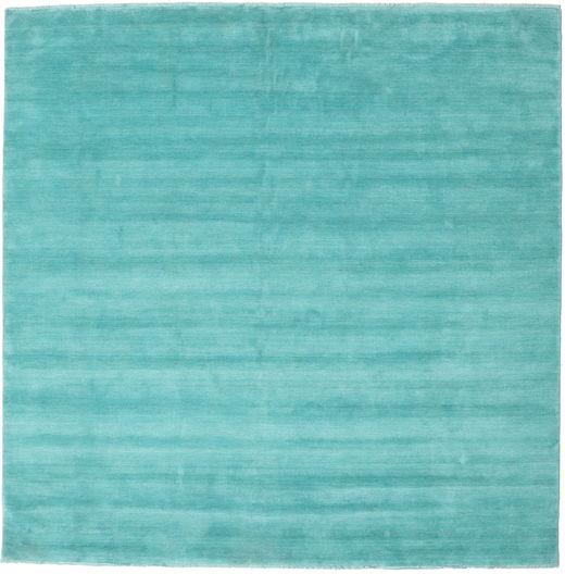 ハンドルーム Fringes - Aqua 絨毯 250X250 モダン 正方形 ターコイズ/ターコイズブルー 大きな (ウール, インド)