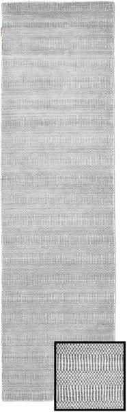 Bamboo Grass - グレー 絨毯 80X290 モダン 廊下 カーペット 薄い灰色/ホワイト/クリーム色 (ウール/バンブーシルク, トルコ)