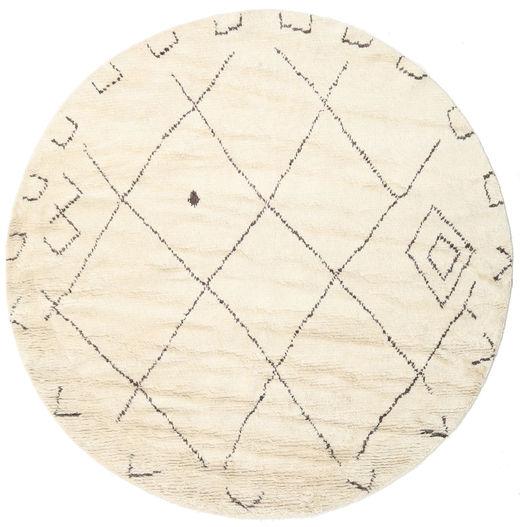 Almaaz - 白 絨毯 Ø 250 モダン 手織り ラウンド ベージュ/ホワイト/クリーム色 大きな (ウール, インド)