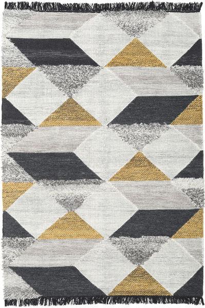 Isha - ゴールド 絨毯 160X230 モダン 手織り 薄い灰色/黒 (ウール, インド)