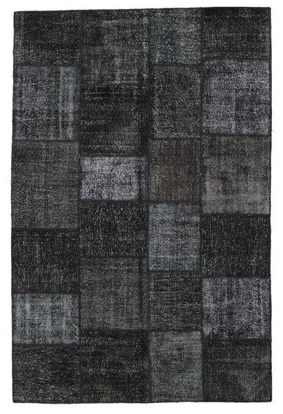 パッチワーク 絨毯 198X302 モダン 手織り 黒/濃いグレー (ウール, トルコ)