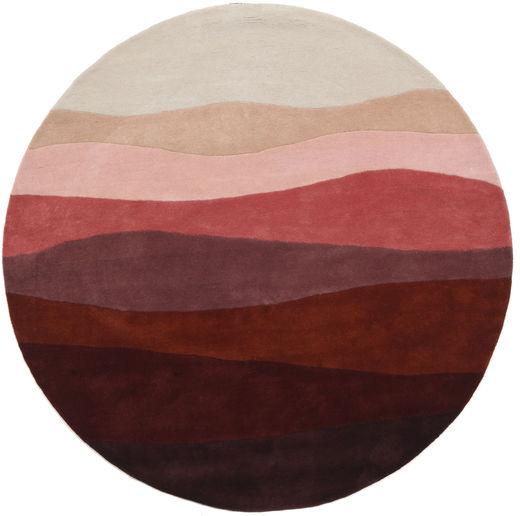 Feeling Handtufted - Wine 絨毯 Ø 200 モダン ラウンド 深紅色の/薄い灰色 (ウール, インド)